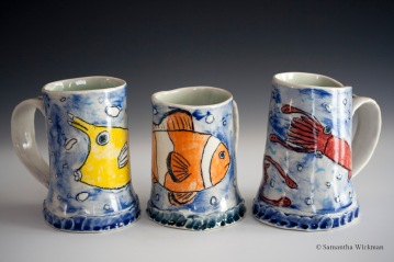 Fish Mugs (Cowfish, Clownfish, Squid), Porcelain, 2015
