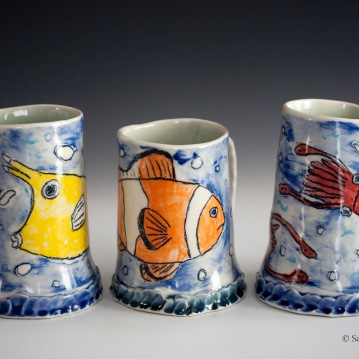Fish Mugs (Cowfish, Clownfish, Squid), Porcelain, 2015