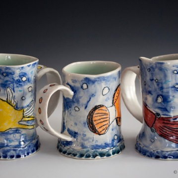 Fish Mugs (Cowfish, Clownfish, Squid) (detail), Porcelain, 2015