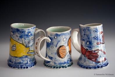 Fish Mugs (Cowfish, Clownfish, Squid) (detail), Porcelain, 2015