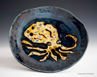 Blue-Ringed Octopus Plate, Porcelain, 2015