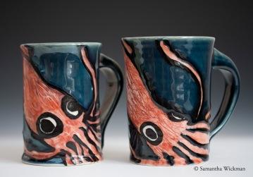 Squid Mugs, Porcelain, 2012