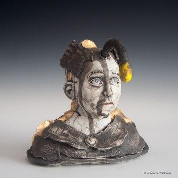 Cimmerian, Cone 10 Porcelain, underglaze, gold luster, 2017