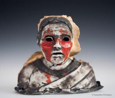 Oedipus, Cone 10 Porcelain, underglaze, gold luster, 2017