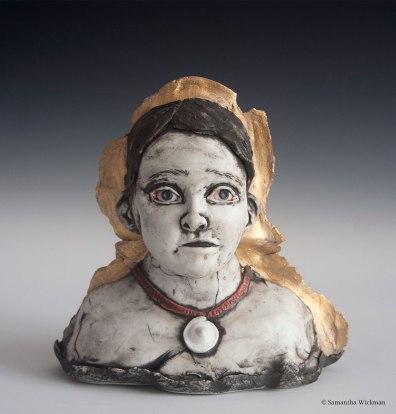 Numinous, Cone 10 Porcelain, underglaze, gold luster, 2017
