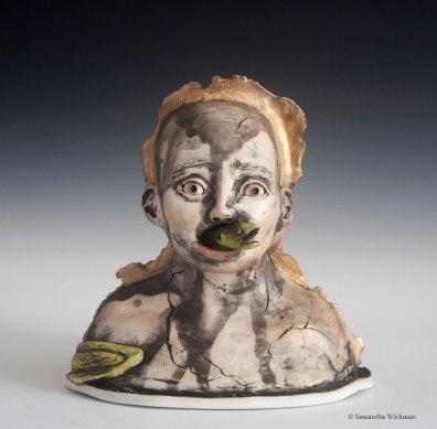 Gag Reflex, Cone 10 Porcelain, underglaze, gold luster, 2017