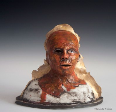 Vulnus, Cone 10 porcelain, glaze, underglaze, gold luster