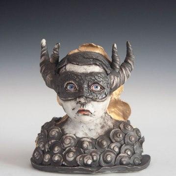 Caliginous, Cone 10 porcelain, underglaze, gold luster, 2017