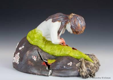 Do No Harm, Cone 10 porcelain, underglaze, glaze, oxides, gold luster, mixed media, 2017