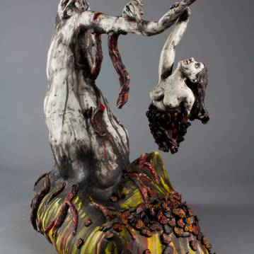 The Death of Hope (Dum spiro spero...spiro spero....spiro.....), Cone 10 porcelain, underglaze, oxides