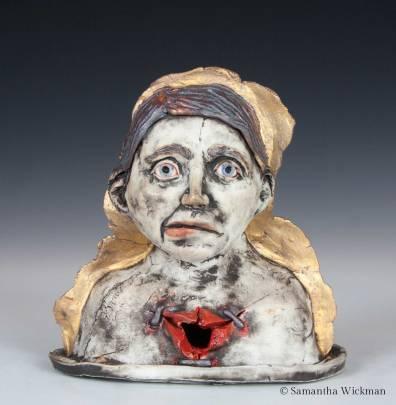 Void, Cone 10 porcelain, underglaze, glaze, red iron oxide, gold luster, 2017