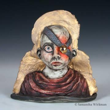Sibyl, Cone 10 porcelain, underglaze, red iron oxide, gold luster, 2017