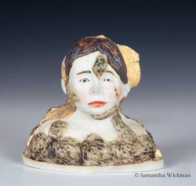 Growth, Cone 10 porcelain, glaze, underglaze, oxides, gold luster, 2017