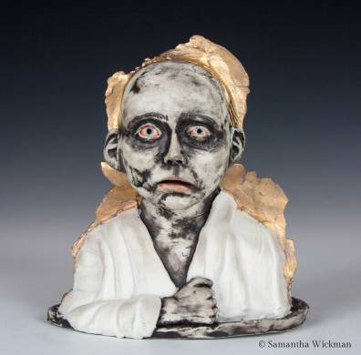 Sleepless, Cone 10 Porcelain, underglaze, gold luster, 2017