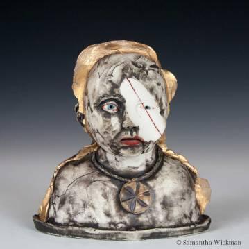 Cluster Headache, Cone 10 porcelain, underglaze, glaze, oxides, gold luster, 2017