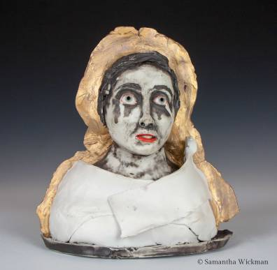 You Would Cry Too If It Happened To You, Cone 10 porcelain, underglaze, gold luster, 2018