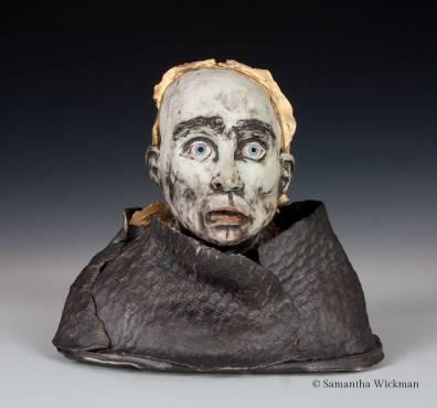 Darkling, Cone 10 porcelain, underglaze, gold luster, 2018